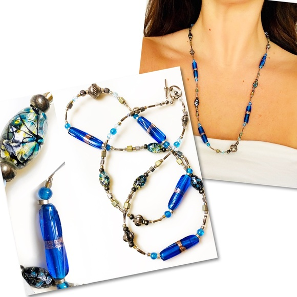 Jewelry - Painted Glass Cobalt Blue Gold Fleck art necklace